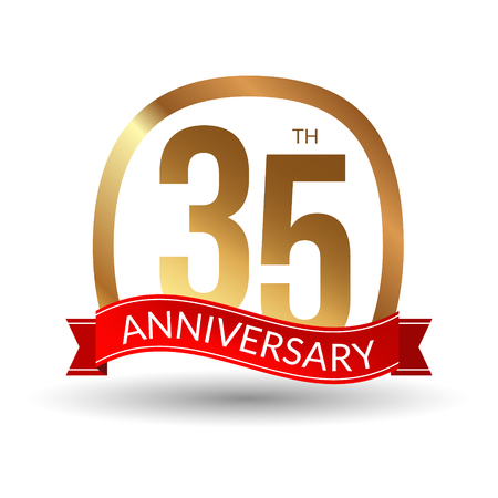 1 year warranty: 35 years anniversary experience gold label with red ribbon, vector illustration.