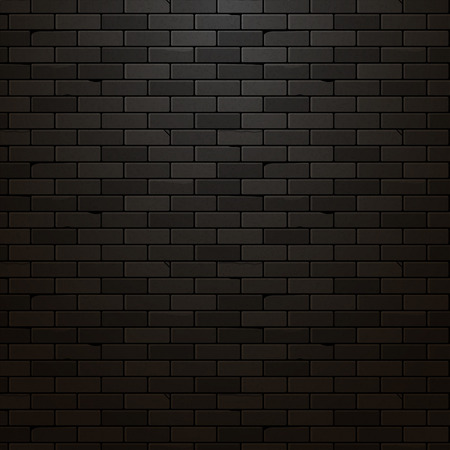 Black brick wall vector background. Dark brick texture design. Urban vintage grunge wallpaper. Иллюстрация