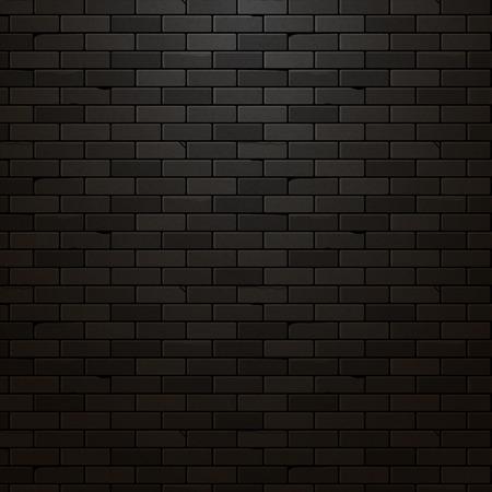 black wall: Black brick wall vector background. Dark brick texture design. Urban vintage grunge wallpaper. Illustration