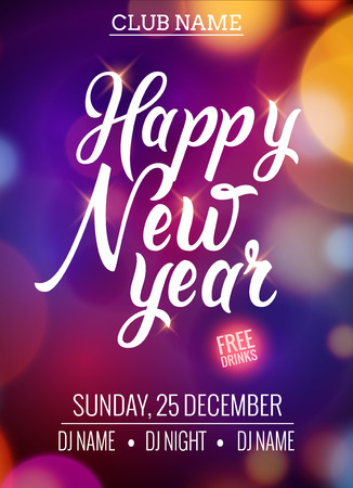 New Year party design banner. Event celebration design template bokeh lights. New year festive poster invitation 2017.