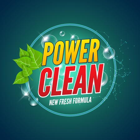 laundry detergent: Soap package design. Vector wash soap background. Laundry detergent package design banner. Powder to wash clothing. Power fresh product with mint