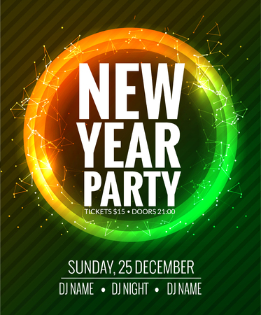 new year party: New year party and Christmas party poster template design. Disco night banner design. New year Holiday celebration invitation. Illustration