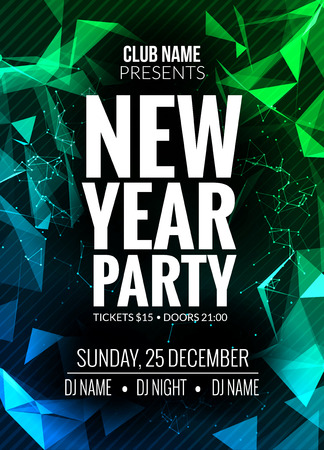 new year party: New Year party design banner. Event celebration design template. New year festive poster invitation 2017.