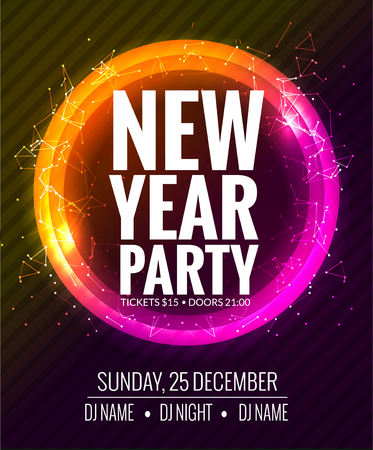 New Year Party And Christmas Party Poster Template Design Disco
