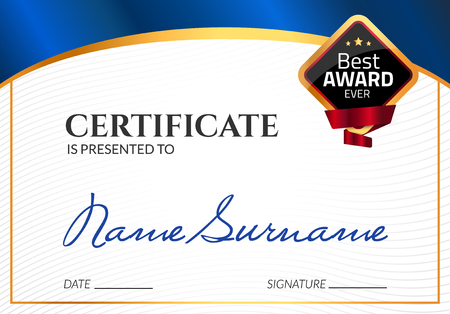 Certificate template luxury award vector business diploma with certificate template luxury award vector business diploma with seal stamp gift coupon or success fbccfo Images