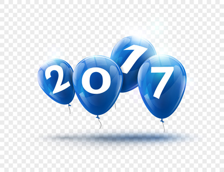Happy New Year 2017 blue balloons design. Greeting card with blue balloons celebration decoration on transparent.