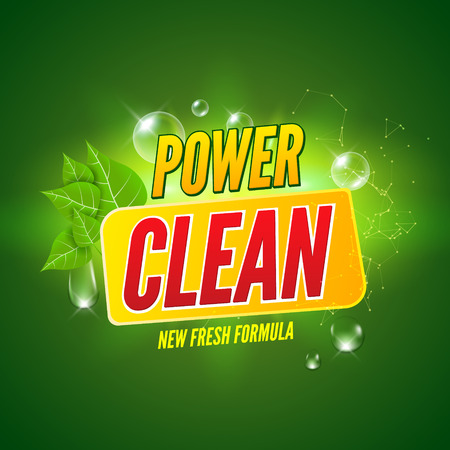 Soap package design. Vector wash soap background. Laundry detergent package design banner. Powder to wash clothing. Power fresh product with mint