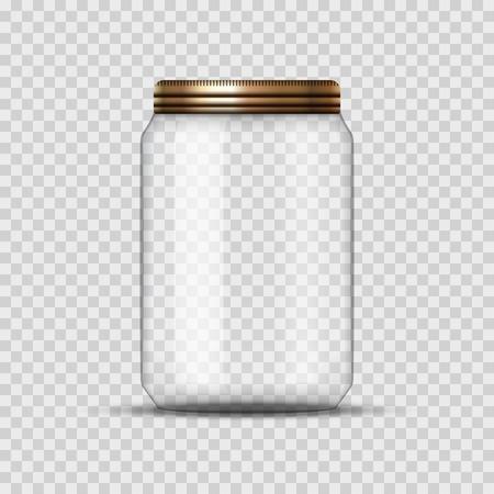 Frasco de vidrio para la industria conservera y la conservación. Vector frasco vacío plantilla de diseño con la cubierta o tapa en transparente.
