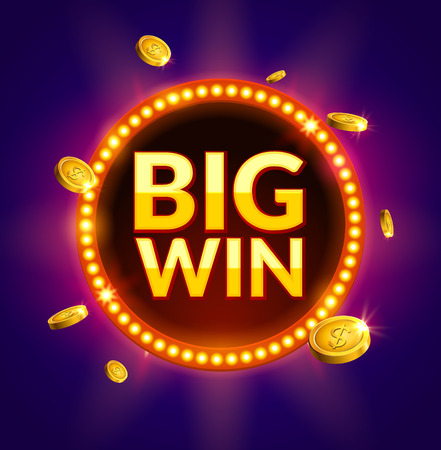 online roulette: Big Win glowing retro banner for online casino, slot, card games, poker or roulette. Jackpot prize design with coins background. Winner sign.