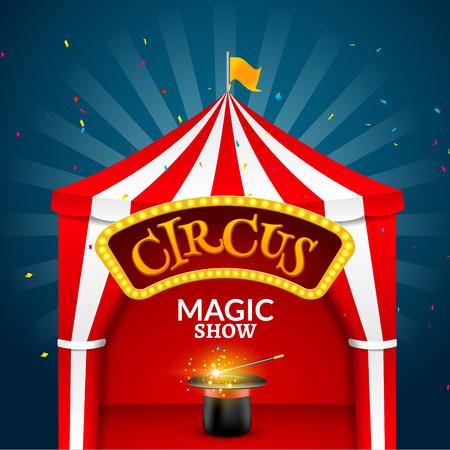 Circus tent poster. Circus retro sign invitation event. Fun carnival vector illustration. Amusement performance. Illustration