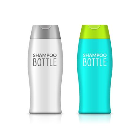 medical shower: Shampoo plastic bottle or shower gel bottle template design. Vector blank mock up. Cream or lotion bath care. Illustration