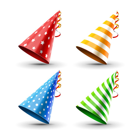 Party hat set isolated on a white. Birthday hat set. Vector fun decoration. Colorful surprise costume. Vettoriali
