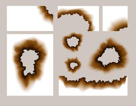 paper hole: Burnt paper hole. Scorched paper holes vector illustration transparent. Burnt edges grunge texture.