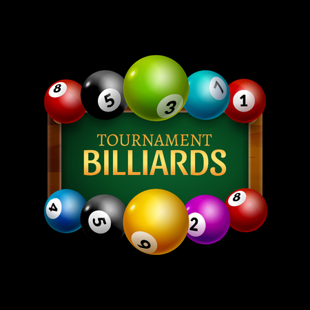 que: Vector Billiard challenge poster. 3d realistic balls on billiard table with lamp. Flyer design cover championship.