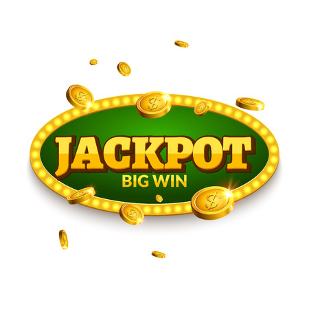 signboard form: Jackpot gambling retro banner decoration. Business jackpot decoration. Winner sign lucky symbol template with coins money.