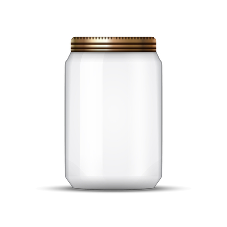 preservation: Glass Jar for canning and conservation. Vector empty jar design template with cover or lid