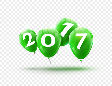Happy New Year 2017 green balloons design. Greeting card with green balloons celebration decoration on transparent. Illustration