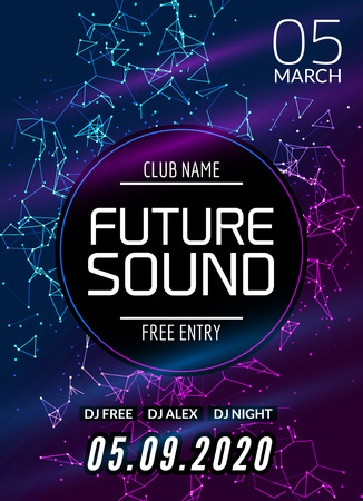 Future sound music party template, dance party flyer, brochure. Night party club creative banner or poster with DJ. Ilustração