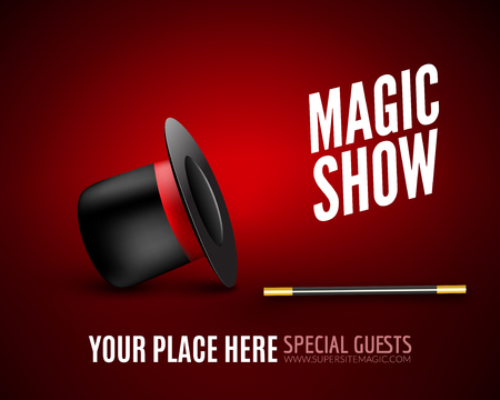 conjuring: Magic Show poster design template. Magic show flyer design with magic hat and magic wand. Illustration