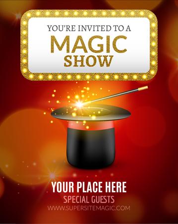 Plantilla de diseño de cartel de Magic Show. Diseño de flyer espectáculo mágico con sombrero mágico y signo de luz retro.