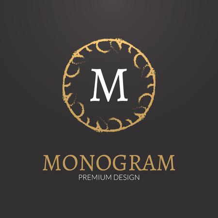 Vector Stylish elegant monogram design logo template Illustration
