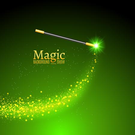 Toverstaf vector achtergrond. Miracle goochelaar wand met schitteren lichten.