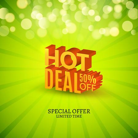 Hot deal sale 3d letters poster. Promotional marketing Sale poster.
