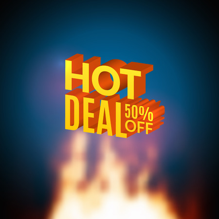 Hot Deal 50 percents off sale promotional poster with fire. Hot deal design template flyer.