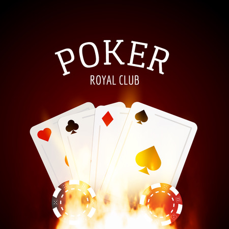 Poker game design template poster. Flame poker casino design with cards and chips.