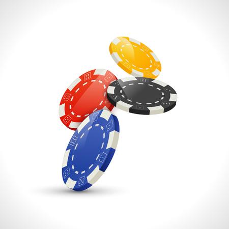 Vector Falling Gambling Poker Chips. Casino leisure illustration.