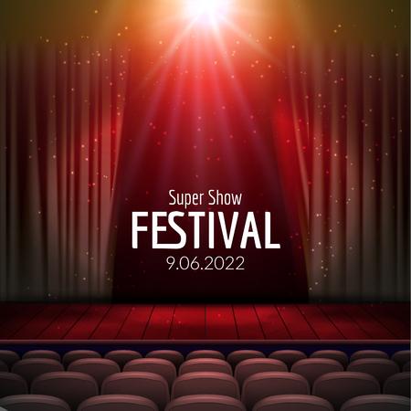 조명과 나무 장면과 좌석 벡터 축제 디자인. 콘서트, 파티, 연극, 무용 템플릿 포스터입니다. 커튼 나무 무대. 조명과 포스터 템플릿
