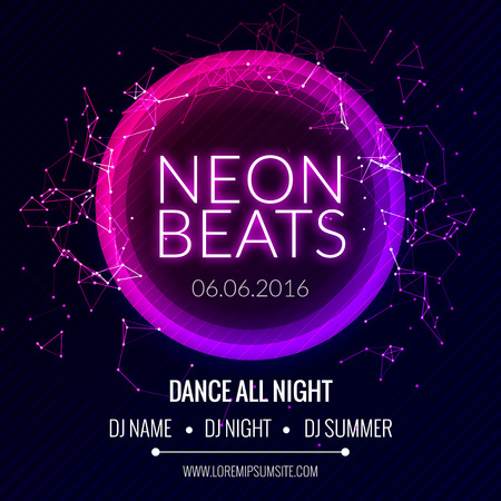 Modern Club Music Neon Beats Party Template, Dance Party Flyer, brochure. Night Party Club Banner Poster Vettoriali
