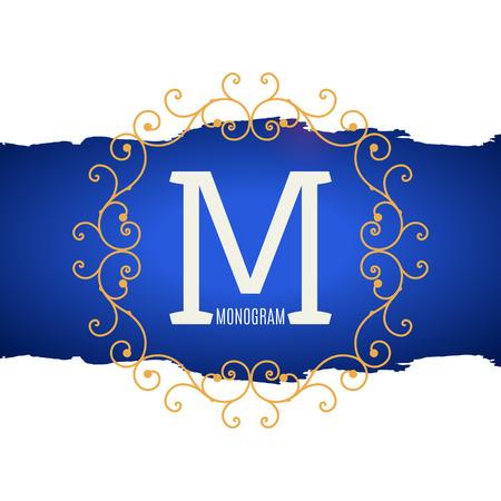 vintage retro frame: Vintage Monogram. Letter M frame. Vintage ornament emblem. Retro decoration Illustration
