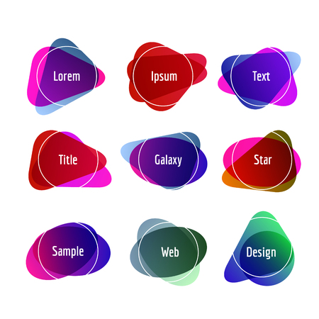 Set of colorful abstract banners. Graphic banners design with overlay colors. Ilustrace