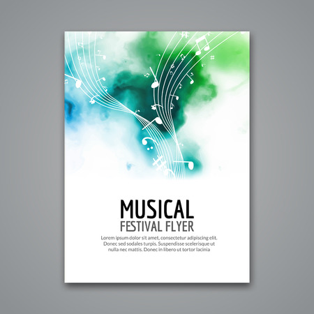 Colorful vector music festival concert template flyer. Musical flyer design poster with notes. Stock Illustratie