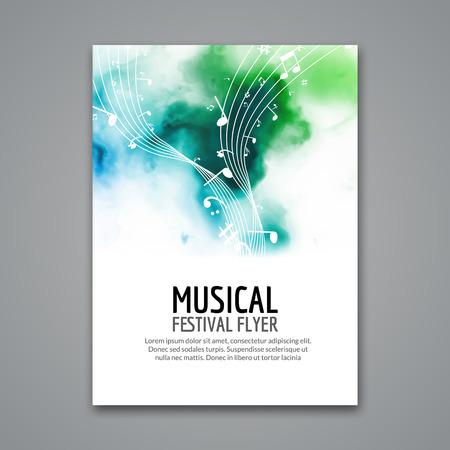 Kolorowe wektora muzyka szablon koncert festiwalowy ulotki. Musical ulotki projekt plakatu z nutami. Ilustracje wektorowe
