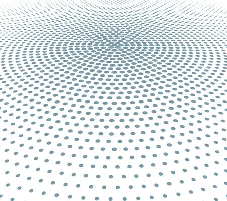 Fondo di semitono punteggiato bianco e nero astratto di vettore. Reticolo radiale a punti.