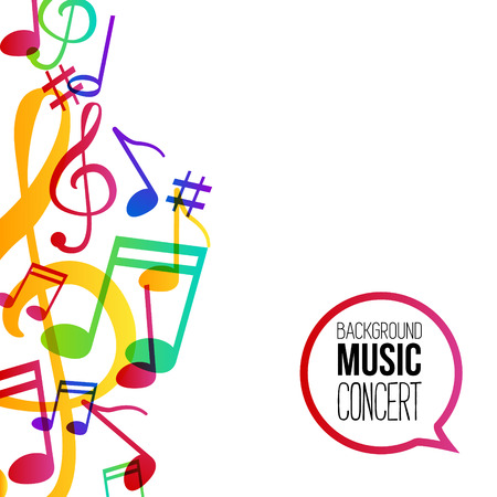Music background. Musical background with musical notes. Vector rainbow colorful background.