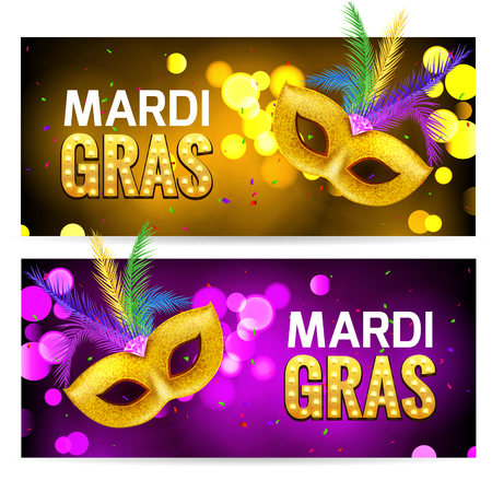 shrove tuesday: Mardi Gras brochure banner design. Golden fat tuesday symbols and letters. Greeting card with mask carnival. Holiday mardi gras party flyer. Illustration