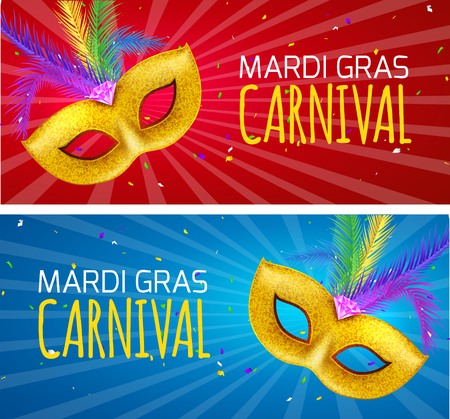 Mardi Gras brochure banner design. Golden fat tuesday symbols and letters. Greeting card with mask carnival. Holiday mardi gras party flyer. Illustration