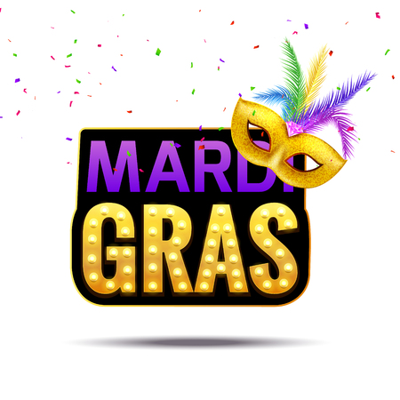 Mardi gras carnival festival celebration. Holiday colorful fat tuesday. Happy mardi gras masquerade party poster design. Illustration