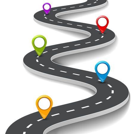 Vector 3d road infographic illustration with pin, pointer. Street information concept. Asphalt road infographic and colorful pins. Vectores