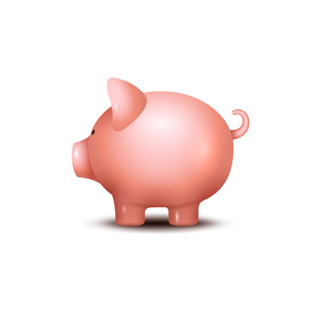 Pig money box. Piggy money save bank icon. Pig toy for coins saving box concept. Wealth deposit. Illustration