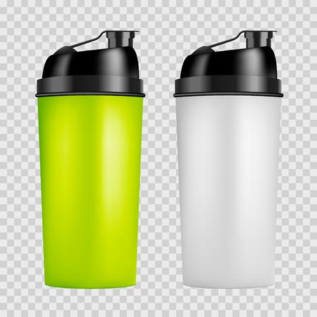 Modello di progettazione di shaker di proteine. Bottiglie sportive bicolore. Bottiglia dell'agitatore isolata per culturismo della palestra. Vettoriali