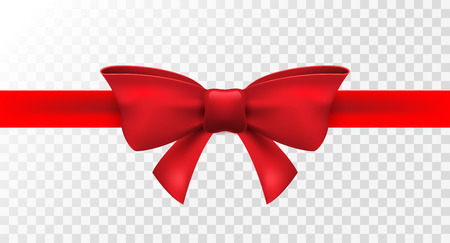 Red ribbon with red bow. Vector isolated bow decoration for holiday present. Gift element for card design. Vettoriali