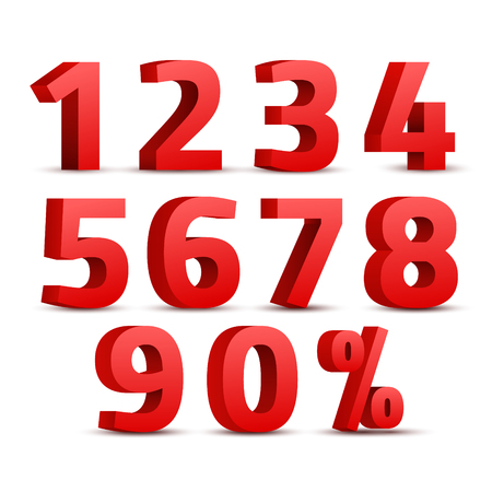 Set of 3D red numbers sign. 3D number symbol with percent discount design. Illustration