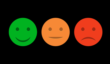 Smiley icon set. Emoticons positive, neutral and negative. Vector isolated red and green mood. Rating smile for customer opinion.