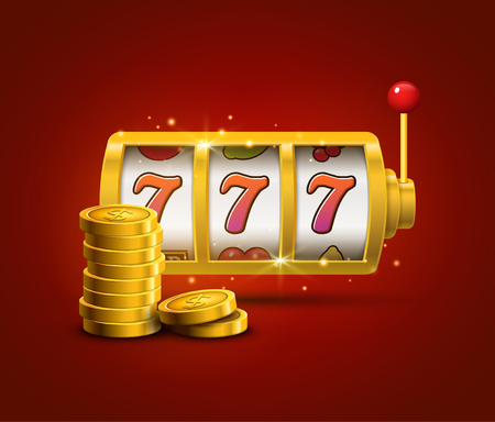 las vegas lights: Slot machine lucky sevens jackpot concept 777. Vector casino game. Slot machine with money coins. Fortune chance jackpot. Illustration