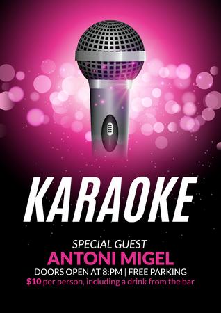 Karaoke party invitation poster design template. Karaoke night flyer design. Music voice concert. Stok Fotoğraf - 79593978