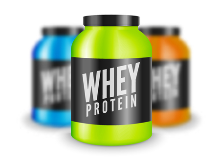 Whey protein bodybuilding nutrition isolated on white. Lifestyle power fitness training sport illustration. Supplement for gym. Illustration